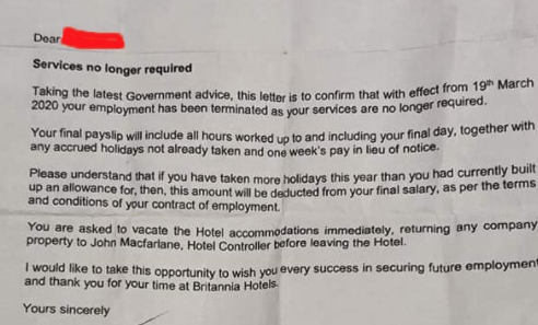Britannia owned hotel sacks staff amid government coronavirus advice